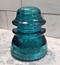 Aqua Blue Glass Insulator Hemingray 42 Beaded Bottom NOT STAINED Near Flawless