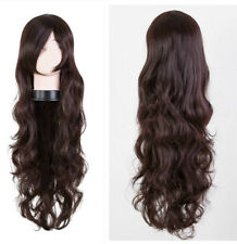 80CM NEW Women Fashion Long Curly Wavy Hair Party Cosplay Full Wig Dark brown