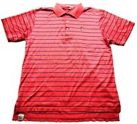 Peter Millar Mens Red Striped Short Sleeve Polo Shirt Size Large