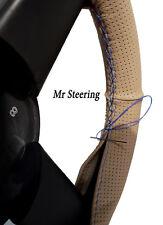 Para Citroen C5 Mk1 Beige De Cuero Perforado volante cubierta Azul Cielo Stitch