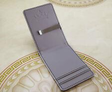 Premium Mens Money Clip Wallet Black & Silver Faux Leather Cash Card Holder V2