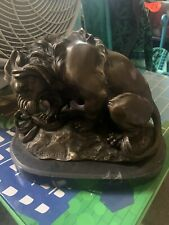 Signed Fremiet Lion Animal Bronze Statue Art Deco Heavy