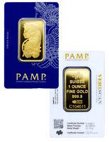 PAMP Suisse 1 Troy Oz .Gold Bar Fortuna w/ VeriScan Cert. SKU27398