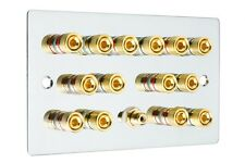 Cromo Pulido 7.1 SURROUND SONIDO Placa Altavoz pared Dorado Bornes