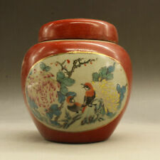Chinese old porcelain Red Glazed Flower and Bird Picture Porcelain Cover jar