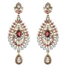 Women Long Earrings Crystal Pink Indian Gold Bride Wedding Earrings Jewelry