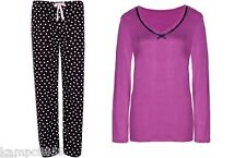 New M&S Mix Match Black Pink Spot Fleece Pyjamas Sz UK 20