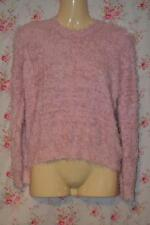 CUTE PINK KNITTED FLUFFY TOPSHOP CREW NECK JUMPER UK 10