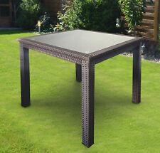 Gartentisch für 4 Personen quadratisch 83 x 83 cm, Poly-Rattan Braun, Glasplatte
