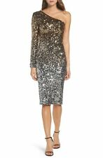 NEW DRESS the POPULATION Gold Silver Sequin Chrissie One Shoulder Long Sleeve XL