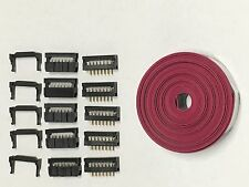 Flat Cable 14 Pins connector 6ft IDC Ribbon 2.54mm pitch 5 sets connectors