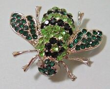 GREEN BLACK GLASS SHINY RHINESTONES SILVER BROOCH BUMBLEBEE HONEY BEE INSECT PIN