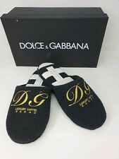 DOLCE & GABBANA Embroidery Terry  Slippers Slides - Black - UK 5/EU 38 - £495