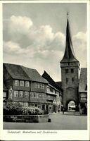 Duderstadt AK ~1950/60 Partie Weserturm mit Lindenzaun Turm Denkmal Haus Gebäude