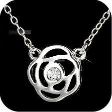 18k white gold gp made with SWAROVSKI crystal filigree flower pendant necklace