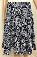 Ladies Vintage A Line Size 12 Floral Blue White High Wasted Swing Flare Skirt