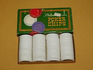 VINTAGE TOY 1963 PACIFIC GAME  100 PLEASANTIME DELUXE WHITE PLASTIC POKER CHIPS