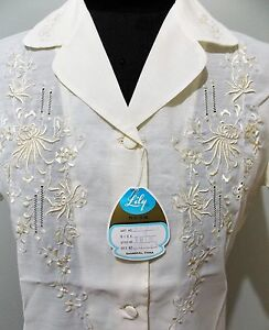 *NEW Vintage Old Stock 1970s Size S Lily Embroidered White Blouse- 46cm Bust