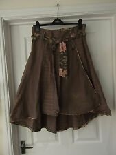 Size 12 Fat Face Skirt in Khaki Green Knee Length Wrap Over with Belt