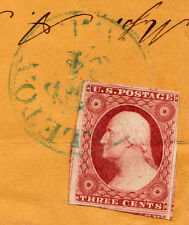 "#11 - 3 Cent 1851-57, 34R6 Pale Green ""LITTLETON/SEP/24/N.H."" CDS to Exeter, NH"