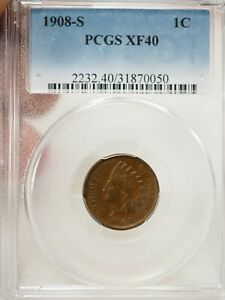 1908-S Indian Head Cent 1C Penny PCGS XF 40 # 0050
