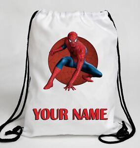 Personalised MARVEL SPIDERMAN Drawstring Swimming Gym Bag School PE Kit Rucksack