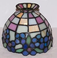 PARTYLITE TIFFANY STYLE STAINED GLASS HYDRANGEA TEALIGHT LAMP REPLACEMENT SHADE