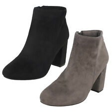 Ladies Black / Grey Spot On Heeled Ankle Fashion Boots F50853