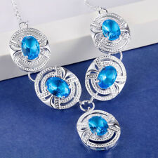 Handmade Jewelry Titanic Ocean Blue Topaz Gemstone Solid Silver Chaming Necklace