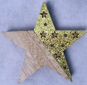 Stern Holz Aufsteller Naturmaterial Weihnachten Neu Dekoration Geschenkidee Gold