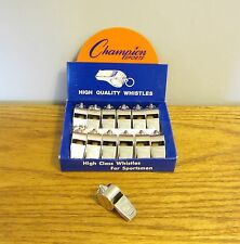 12 NEW CHAMPION SPORTS BRASS METAL REFEREE WHISTLES SILVER COLOR HEAVY DUTY