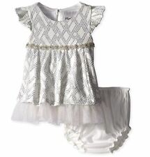 Rare Editions Baby Girls' Infant Textured Knit Social Dress, White/Silver, 24M