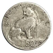 1901 Belgium 50 Centimes Silver Coin - Léopold II Dutch text Sitting Lion