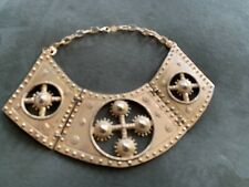 Rare Vintage Accessocraft NYC Etruscan Revival bib Gold Tone Necklace
