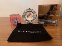 Jay Strongwater Blue & White Round Picture Frame w/jewels, original frame insert