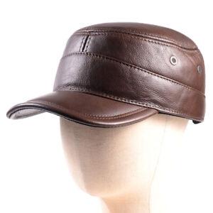 Men's Genuine Leather Winter Warm Ear Flap Baseball Cap Trucker Army Caps/Hats