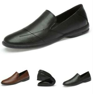 Mens Leisure Leather Shoes Pumps Slip on Loafers Driving Moccasins Soft Comfy D