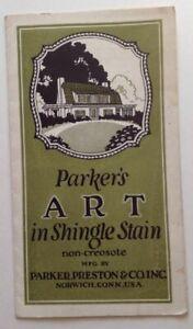Vintage Paint Brochure Parker Preston Shingle Stain Color Chart Norwich CT