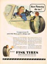 1945 Fisk Tires Woman Dog Boy in 1 piece sleeper Howard Scott Art Vtg Print Ad