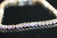 925 Sterling Silver Handmade Authentic Turkish Amethyst Bracelet Bangle Cuff