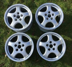 """Rare Refurbished Porsche Cup 17"""" Staggered Classic Alloy Wheels Early 944 Pre 85"""