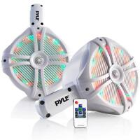 Pyle PLMRWB85LEW Marine Wakeboard Water Resistant  8'' LED Speakers - White