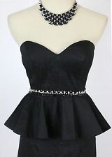 NWT Terani Prom Black $160 Prom Size 2 Short Gown Evening Dress Strapless Formal