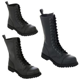 Boots & Braces Black Matt Rangers 8 10 14 Hole Loch Punk Skinhead Biker Stiefel