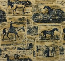 "WAVERLY POLO PROMENADE MIDNIGHT Dark Blue Horses Toile Fabric BY THE YARD 54""W"