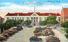 CURACAO N.W.I. CITY HALL & PLAZA 1940'S LINEN POSTCARD