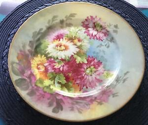 "Antique Charles Ahrenfeldt Limoges 10"" PLATE Dinner Flower Gold Trim EUC"