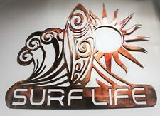 """Surf Life Metal Wall Art Decor - Sun  Waves and Surf  15 1/2"""" T x 18"""" wide"""