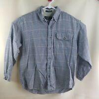 Orvis Mens Button Down Collar Shirt Size M Blue Plaid Long Sleeve Cotton