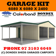 DONDEX SHEDS Double Garage Shed Kit 6x6x2.4 + 3.0m wide awning Colorbond